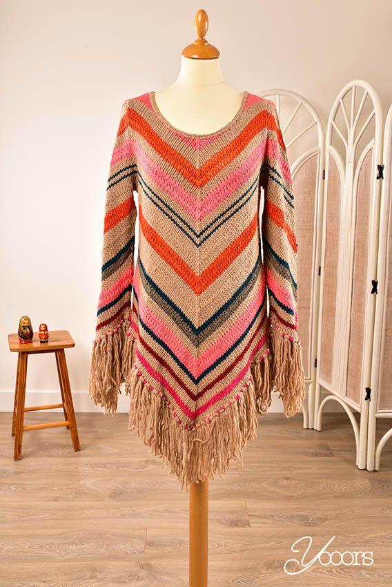 Isla Ibiza gebreide trui strepen boho chic look beige roze oranje blauw en grijs  knit sweater jumper stripes beige pink blue orange and gray  http://www.yooors.nl/product/isla-ibiza-trui-xl/