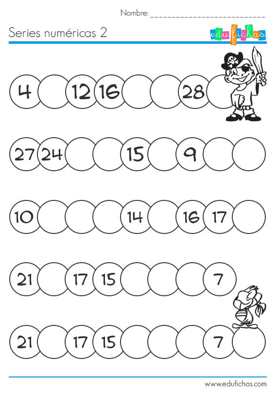 Rellenar series numéricas. Hojas de trabajo para niños | MATEMATICA ...