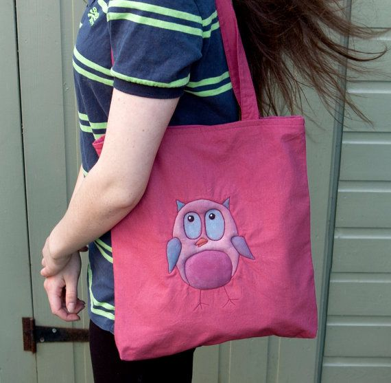 owl bag tote gift present birthday cranberry by onthebuttonbags