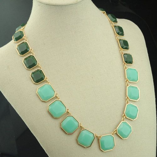 longer cut gemstone statement necklace