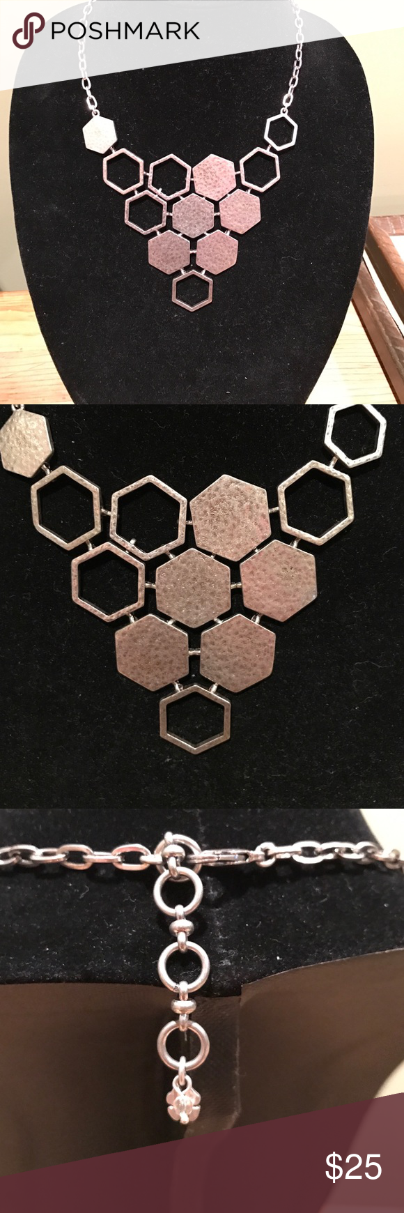 """NWOT Lucky Brand silver honeycomb necklace New without tags. - Silver-tone honeycomb collar necklace - Lobster clasp - Approx. 17"""" length with 2"""" extender - Approx. 3.5"""" H x 5"""" W bib - Imported Lucky Brand Jewelry Necklaces"""