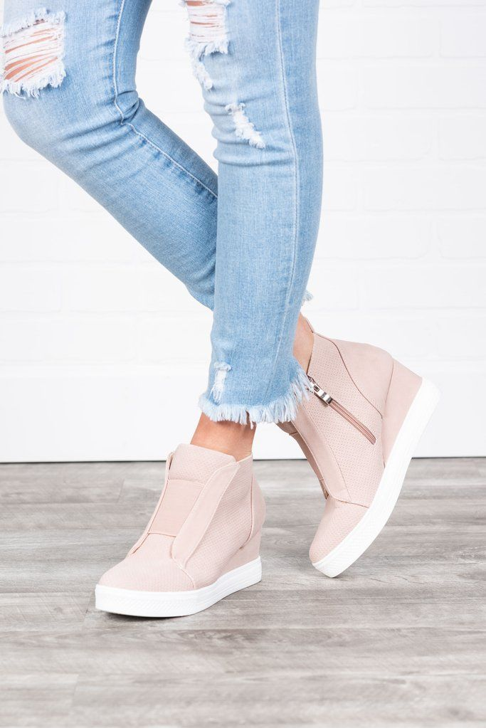 Known By All Blush Pink Wedge Sneakers - Known By All Blush Pink Wedge Sneakers #fallshoes