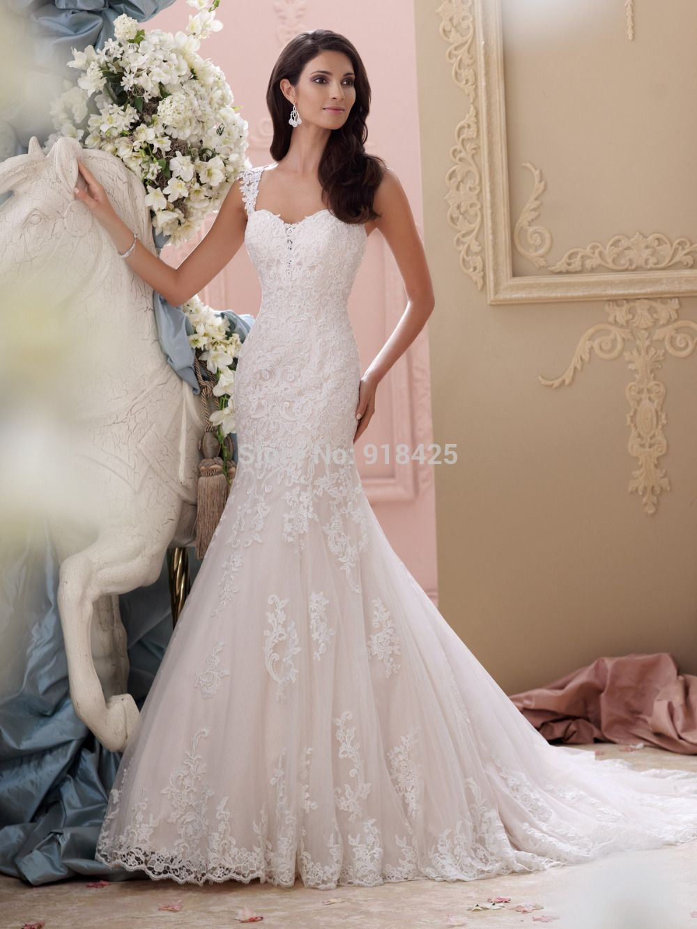 Lace wedding dress open back mermaid  Click to Buy ucuc Elegant Lace Open Back Wedding Dresses Sweetheart