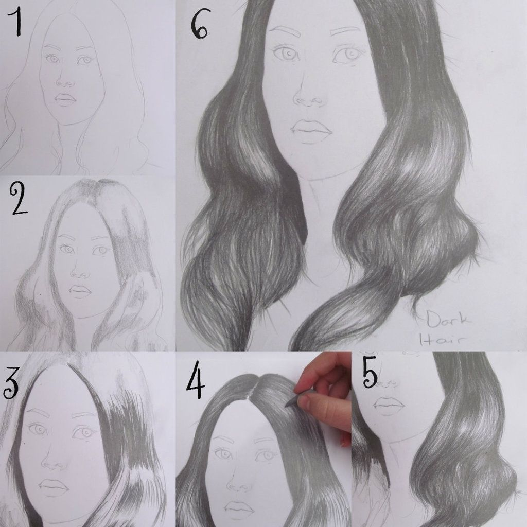 How To Draw Hair Step By Step With Pencil Drawing Dark