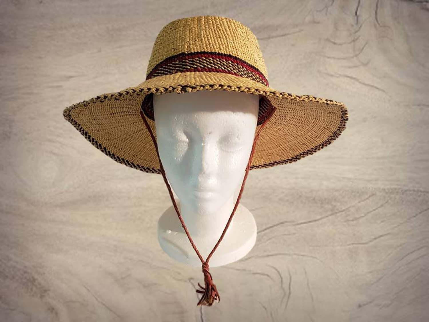 59ca1fdf224 Authentic African Unisex Raffia Straw sun Hat with adjustable chin strap by  JMDiscount on Etsy
