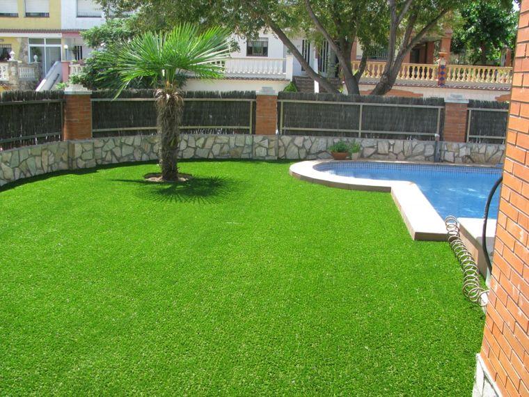 decoracion de jardines con cesped artificial moderno | Jardín ...