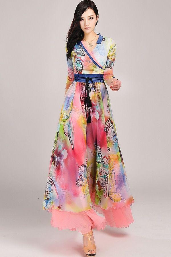 Wrapped Front Floral Print Maxi Dress - OASAP.com | Home, Colors ...