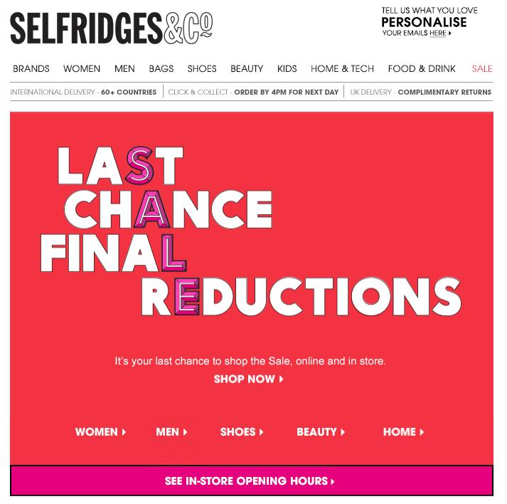 dfd2d2335168 Selfridges - Sale 2014