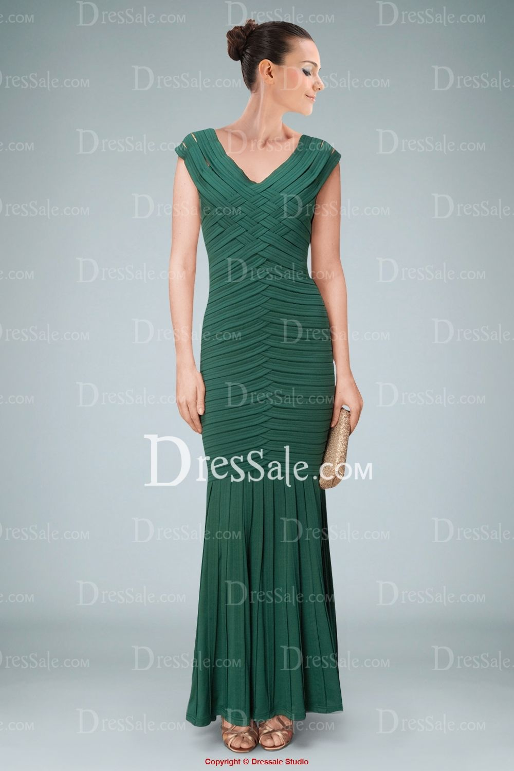 Outstanding Mermaid Dress Featuring Plaids and Crisscross Pleats in ...