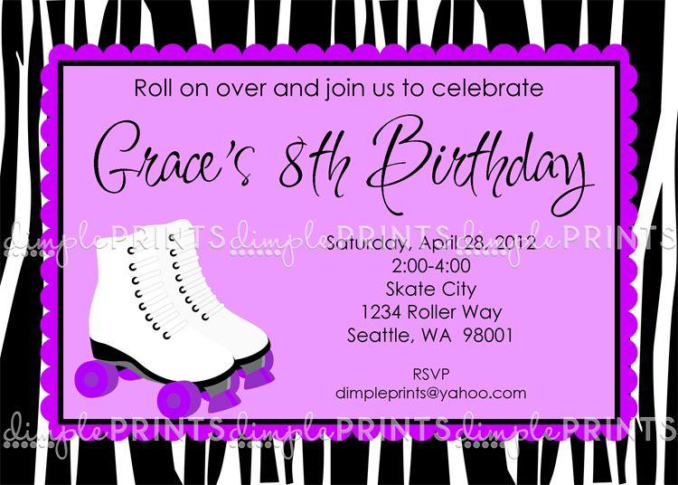 Free Printable Roller Skating Birthday Party Invitations Mara bday