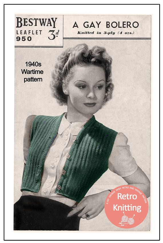 1940s Wartime Sleeveless Bolero Knitting Pattern - Instant Download ...