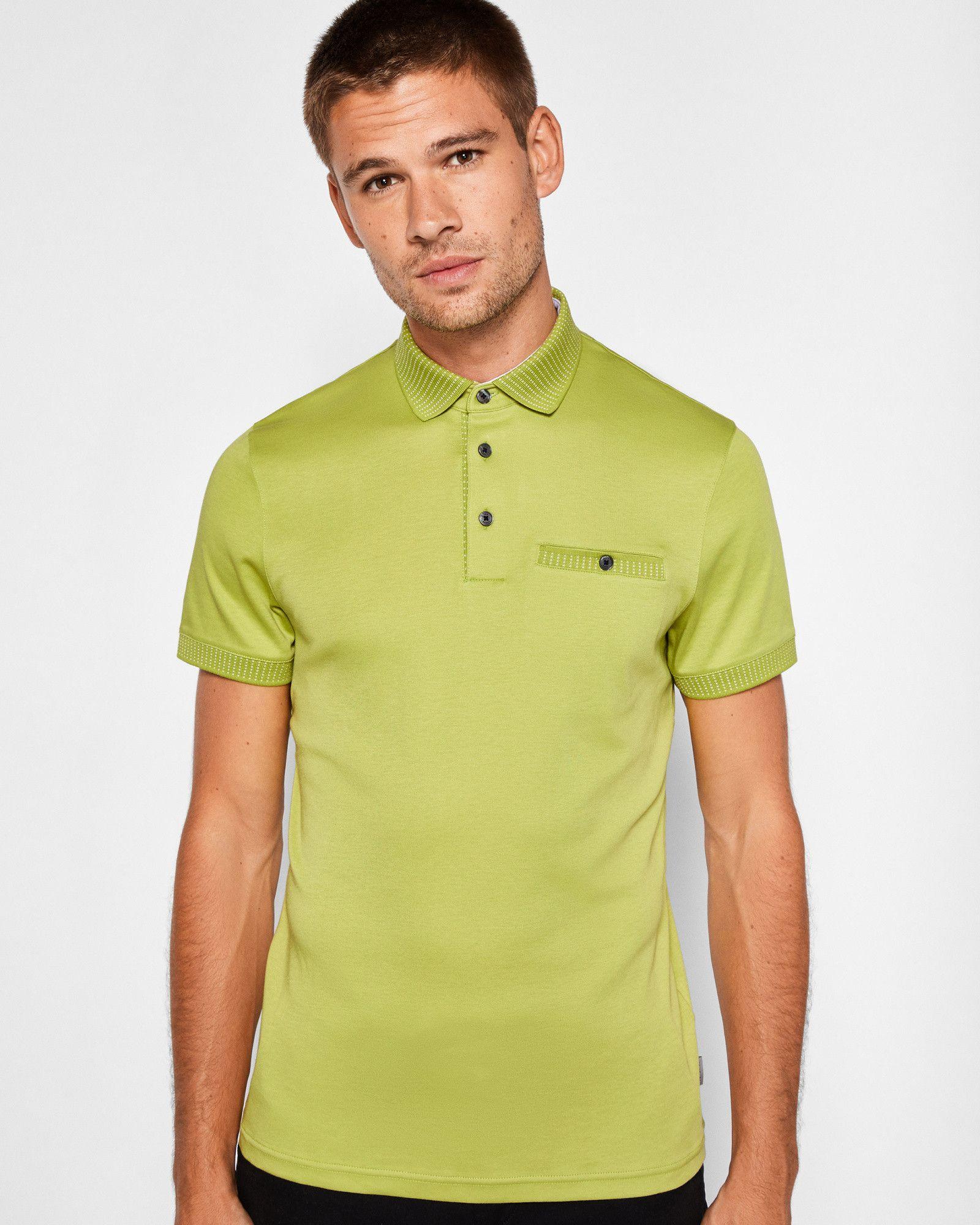 6d8de9906d91ad Ted Baker Flat knit collar cotton polo shirt Lime