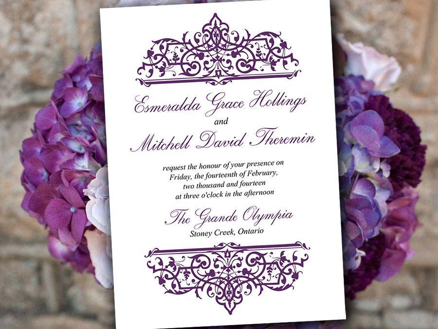 diy wedding invitation template eggplant purple invitation cella