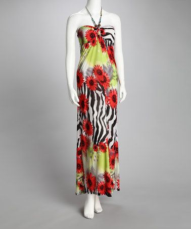 Take a look at this Red Flower & Zebra Maxi Dress by Fashion Instincts on #zulily today!