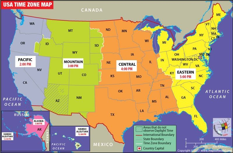 Map Od The Us USA Time Zone Map | Time zone map, United states map, Time zones