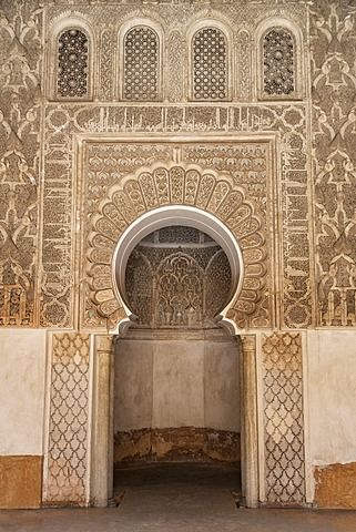 Traditional decorative plaster carving in the Ben Youssef Medersa, UNESCO World…
