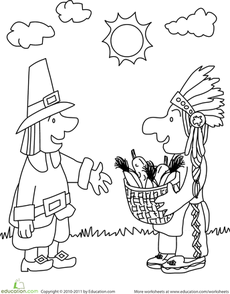 printable thanksgiving coloring pages for kindergarteners | First Thanksgiving Coloring Page Worksheet | American ...