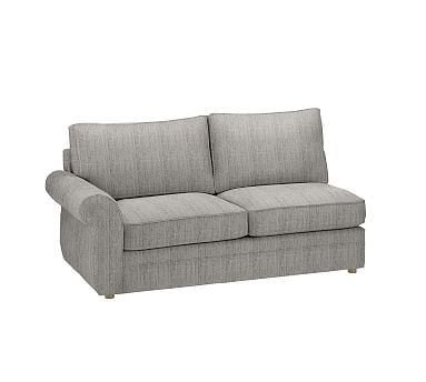 Pearce Upholstered Left Arm Loveseat, Down Blend Wrapped Cushions, Sunbrella(R) Performance Sahara Weave Charcoal