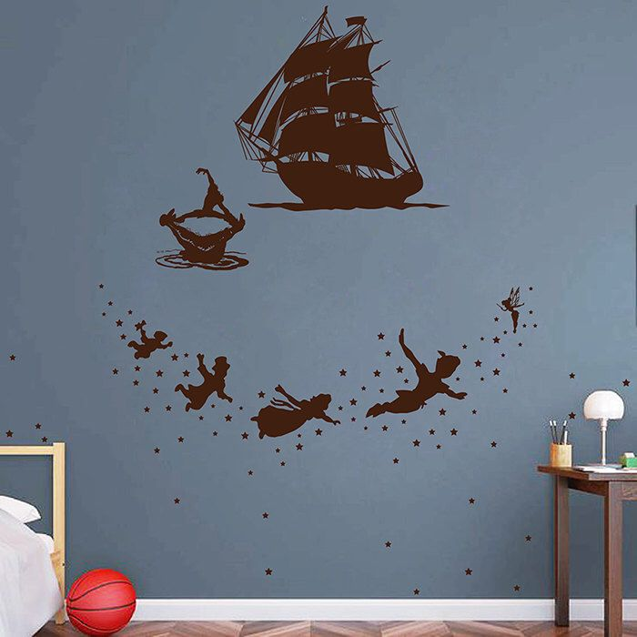 Set Peter Pan Wall Decal Vinyl Sticker Fairy Tale Decals Fairy Tinker Bell  James Hook Ship