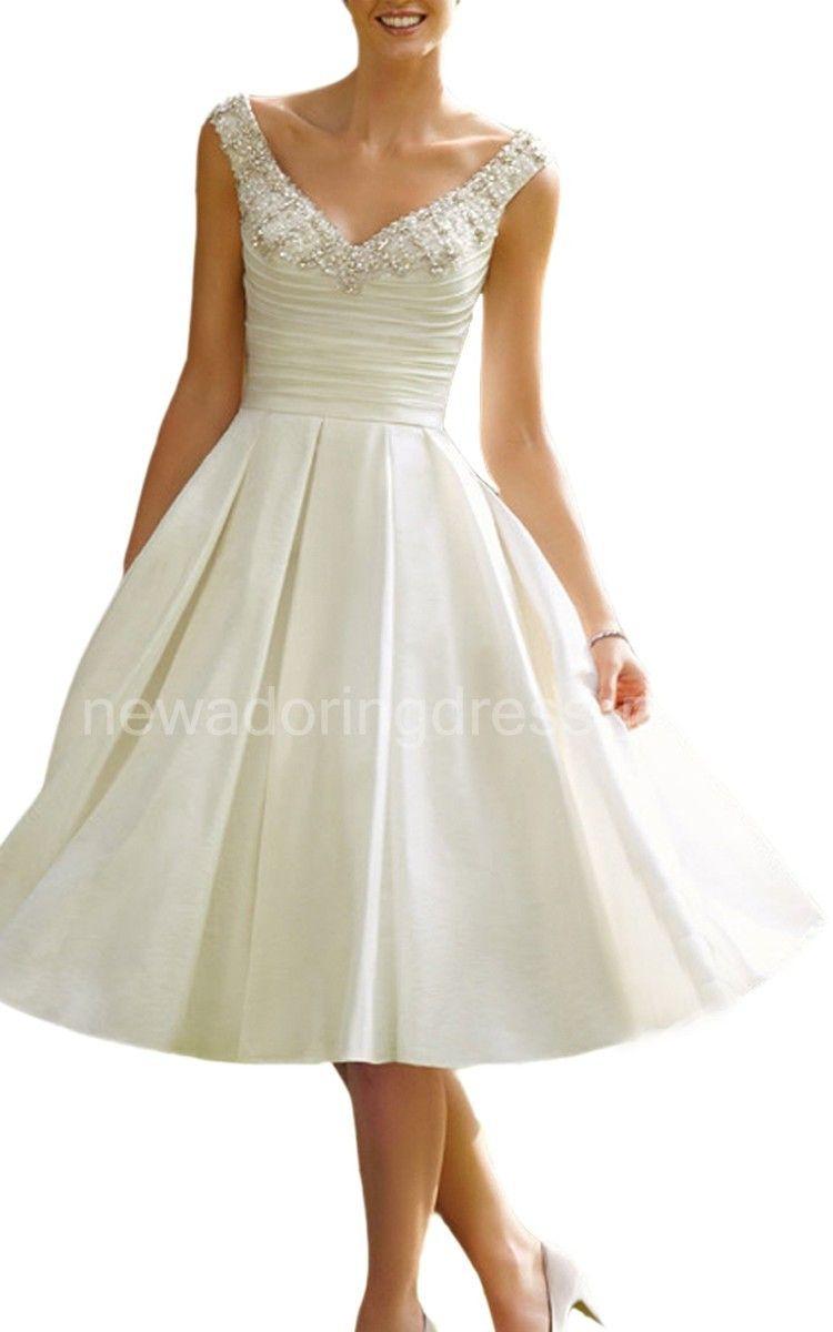 Classic femme capsleeve vneck luxe short wedding dress wedding