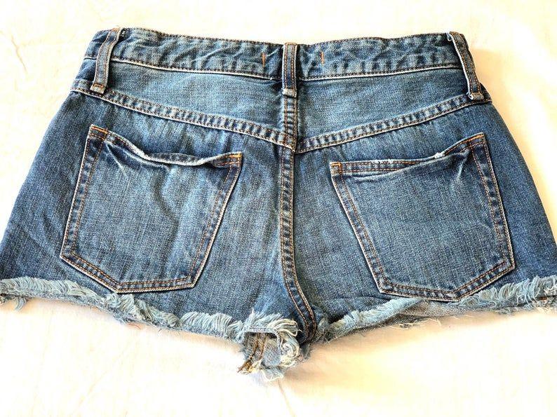 Upcycled Denim Cutoff Shorts Frayed Embroidery Vintage Etsy In 2020 Vintage Denim Denim Cutoffs Denim Cutoff Shorts