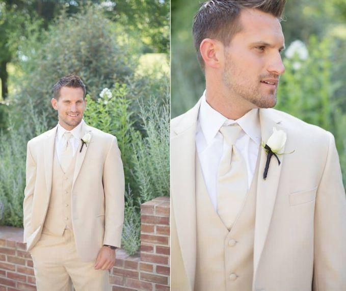 2014 New Slim Fit Groom Tuxedos Beige Two Buttons Side Slit Best Man Suit Wedding Groomsman Men Suits Bridegroom Jacket+Pants+Tie+Vest LX, $98.43 | DHgate.com