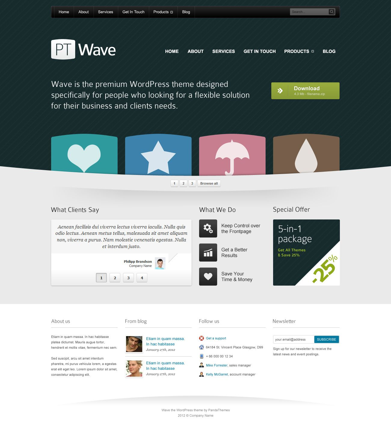 Homepage template for corporate website (PSD) | Web design ...