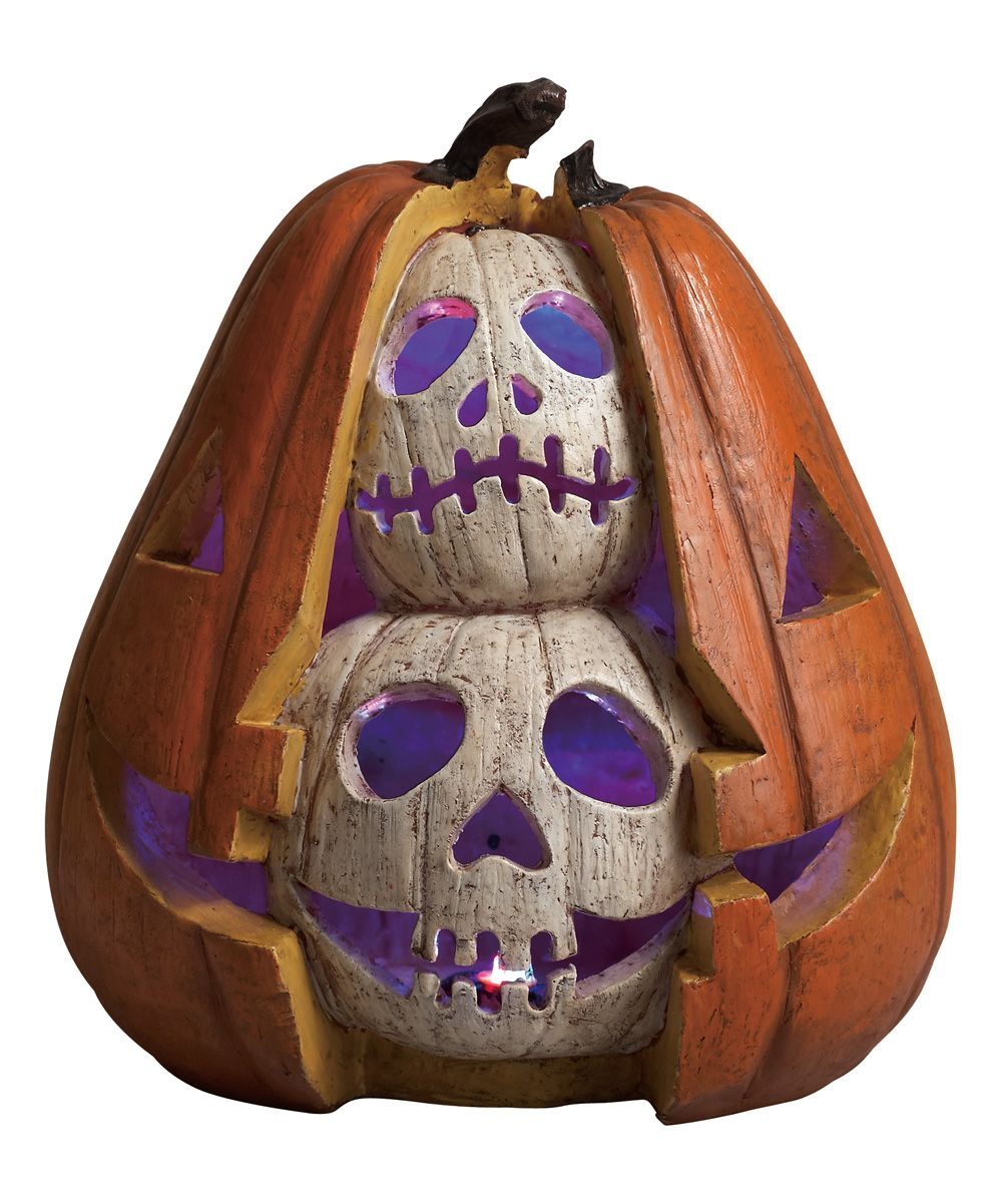 Double Skull Pumpkin LED Screaming Figurine