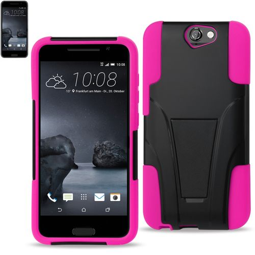 Reiko Silicon Case+Protector Cover For HTC One A9 New Type Kickstand Hot Pink Black