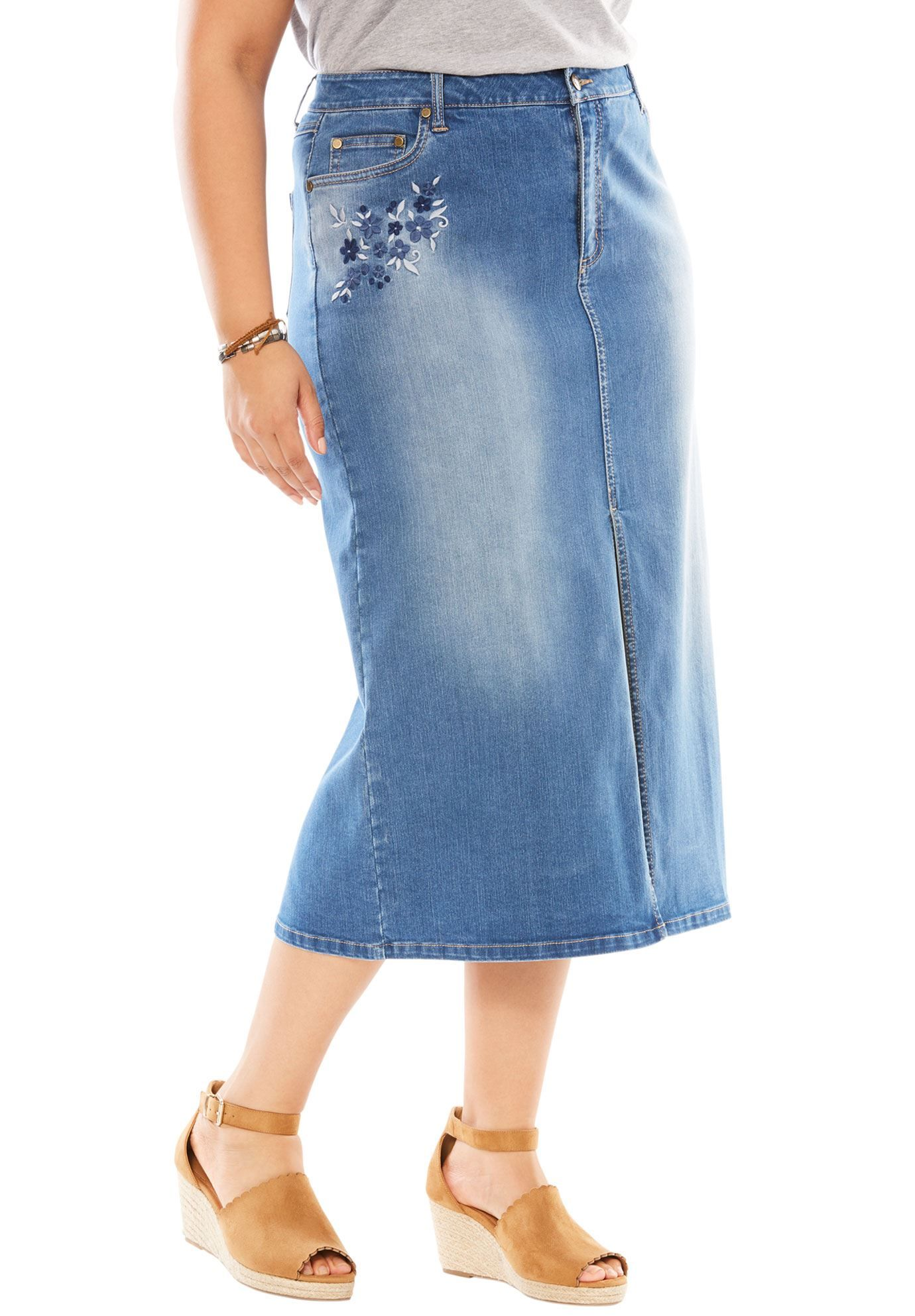 3b81319a73ad Petite Stretch Jean Skirt - Women's Plus Size Clothing | Products ...