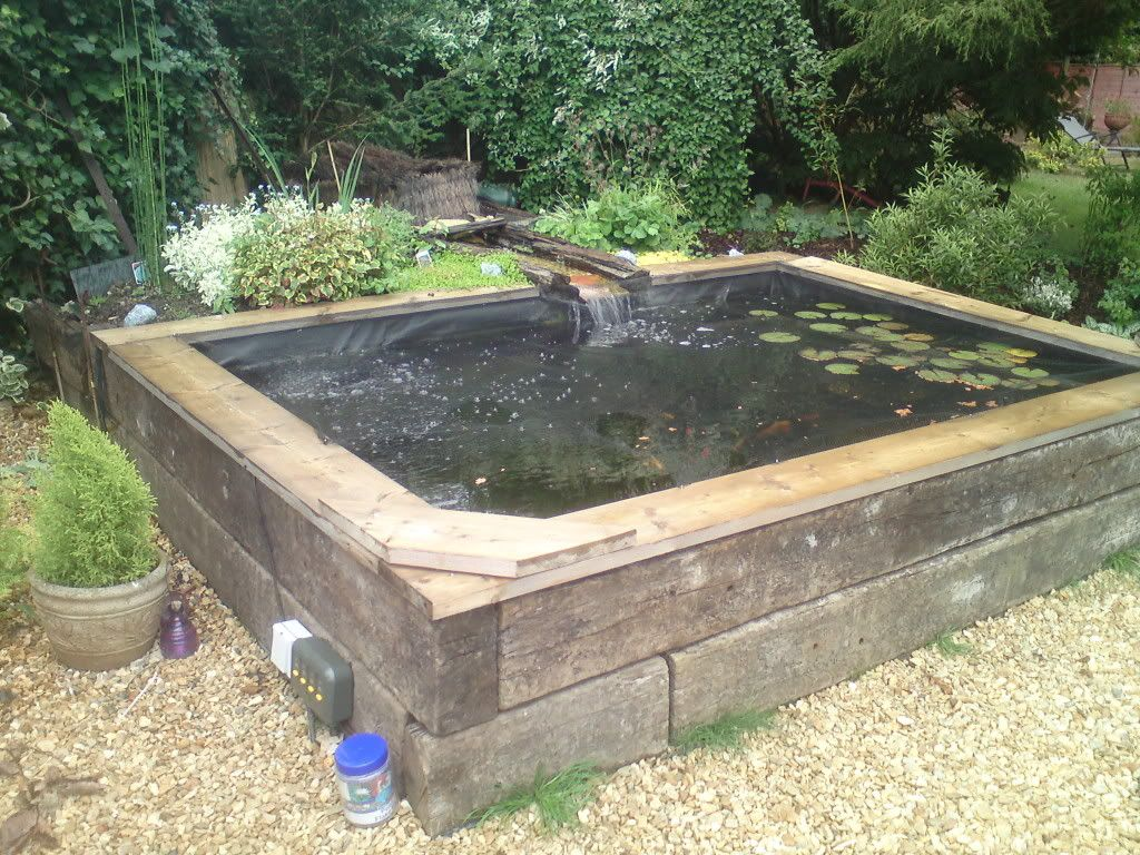 Photo koi pinterest raised pond pond for Raised koi pond ideas