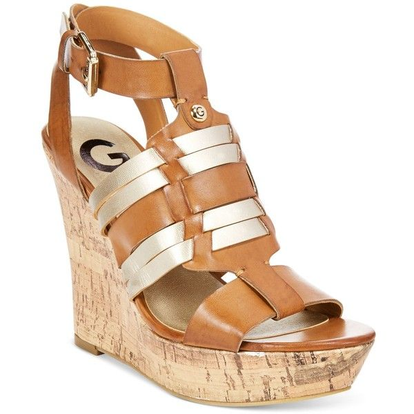 G by Guess Distinct Platform Wedge Sandals ($50) ❤ liked on Polyvore featuring shoes, sandals, cognac, ankle tie sandals, braided sandals, platform wedge sandals, wedge heel sandals and ankle strap sandals