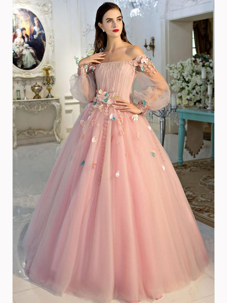 2e94dbba6f Chic A-line Pink Prom Dress,Off-the-shoulder Tulle Applique Long Sleeve Evening  Dress Party Dress AM169