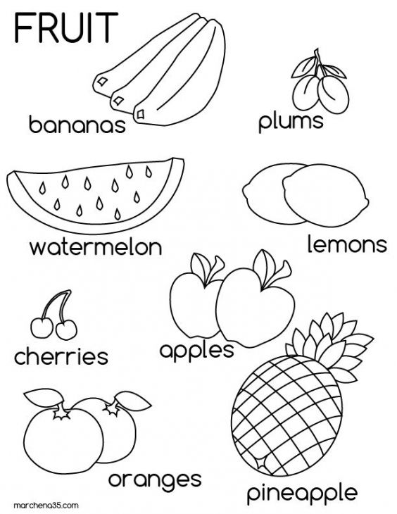 Educational coloring page of fruits for kindergarten