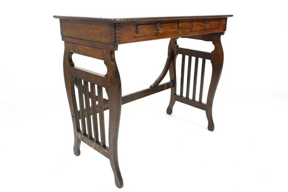 Antique Oak Arts & Crafts Campaign Writing Table or Desk with Folding Lyre…