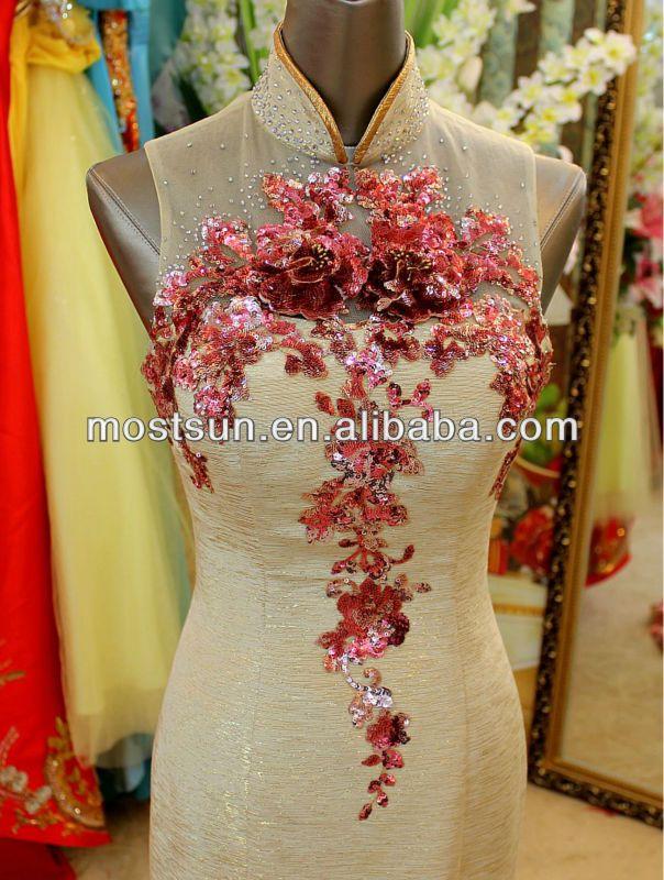 EV590 Modern High Neck Embroidered Cheongsam Wedding Dress Qipao Wedding Dress
