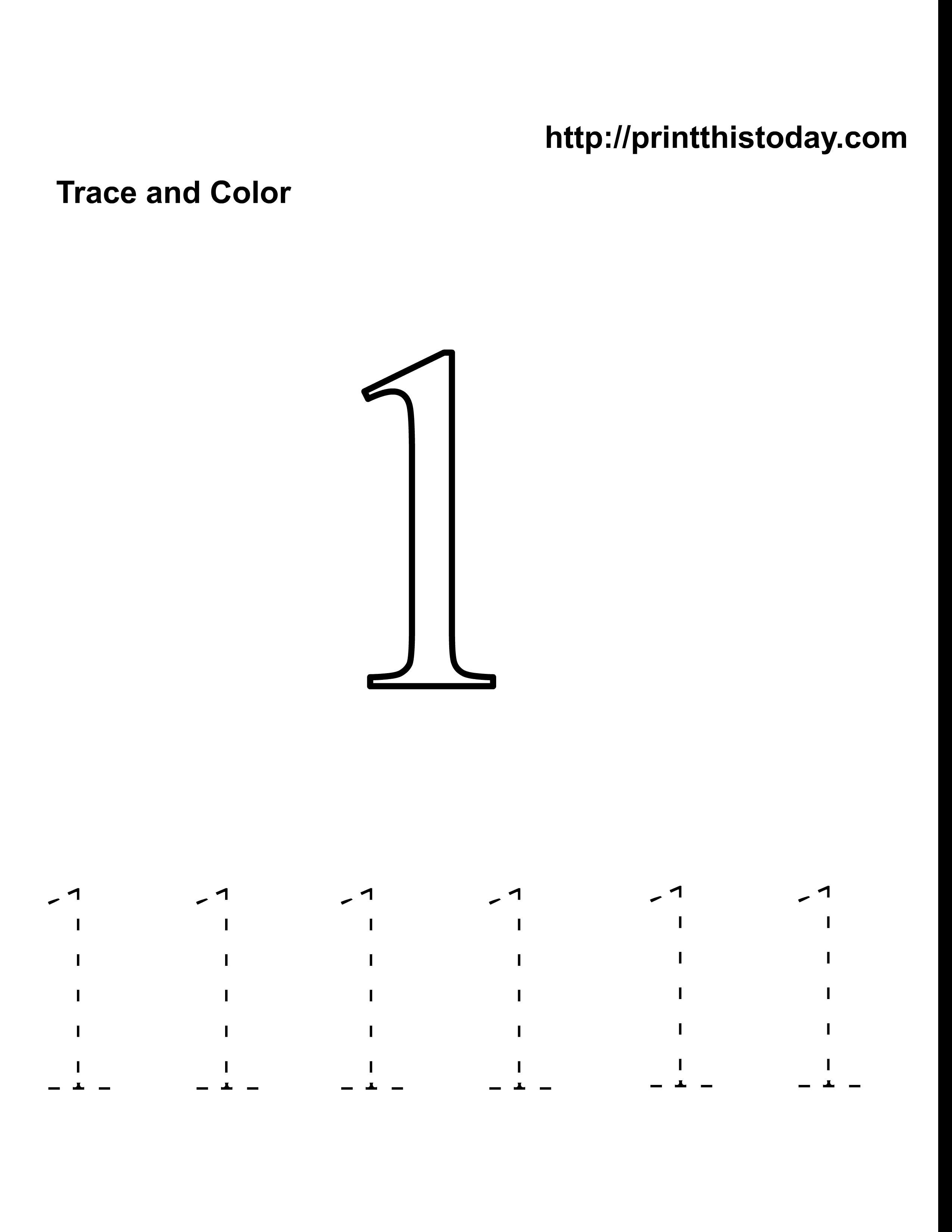 Preschool Number One Worksheet