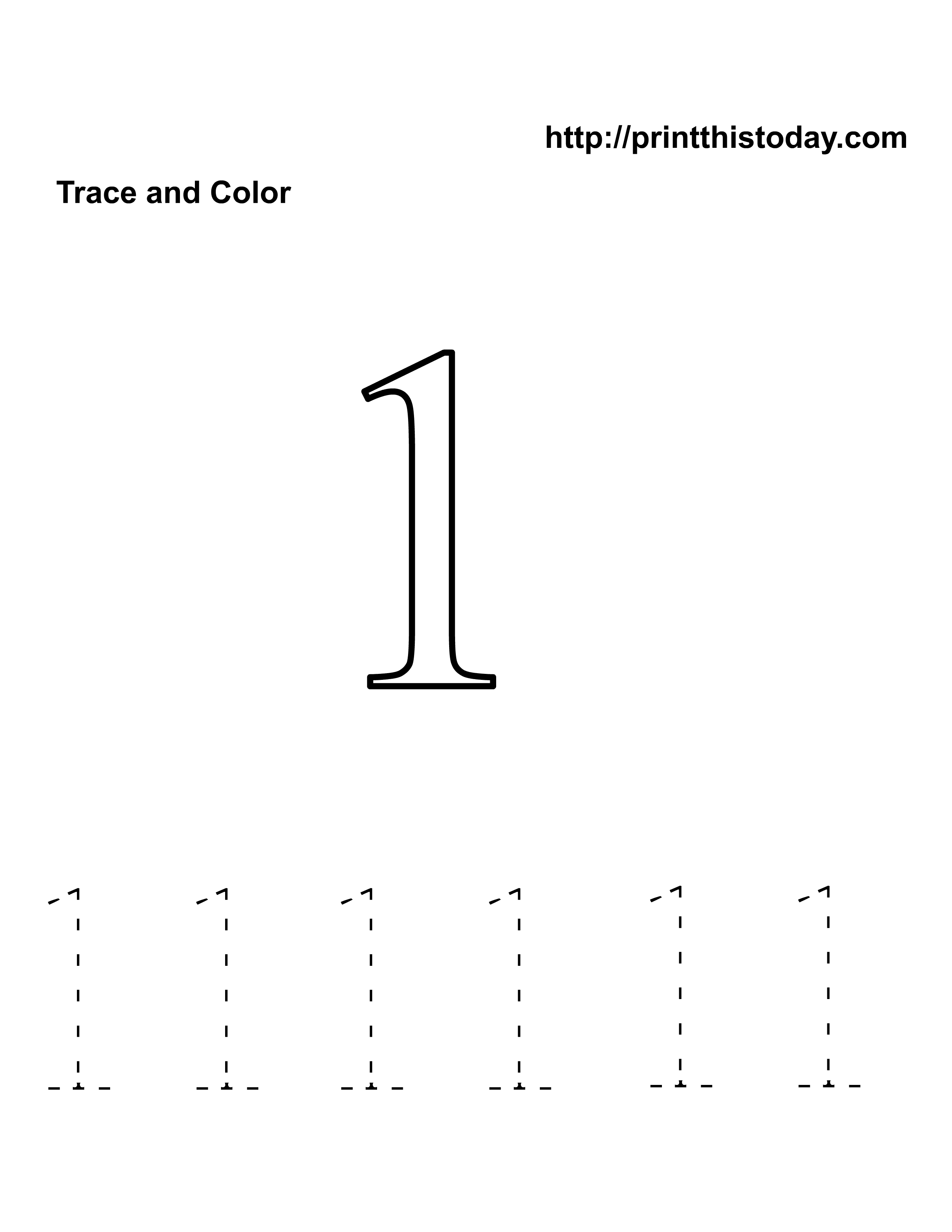 Preschool Number One Worksheet
