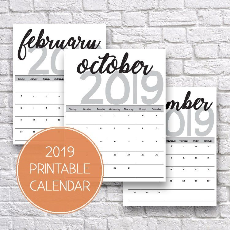 2019 Printable Calendars and Planners ~ FREE Fonts  Printables