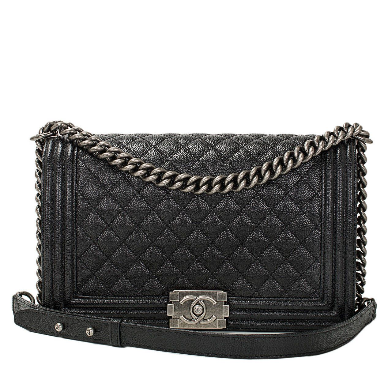 chanel black caviar new medium boy bag | chanel black, caviar and