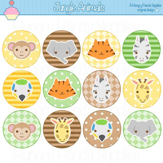 jungle animals cupcake toppers printable animals party circles monkey giraffe elephant