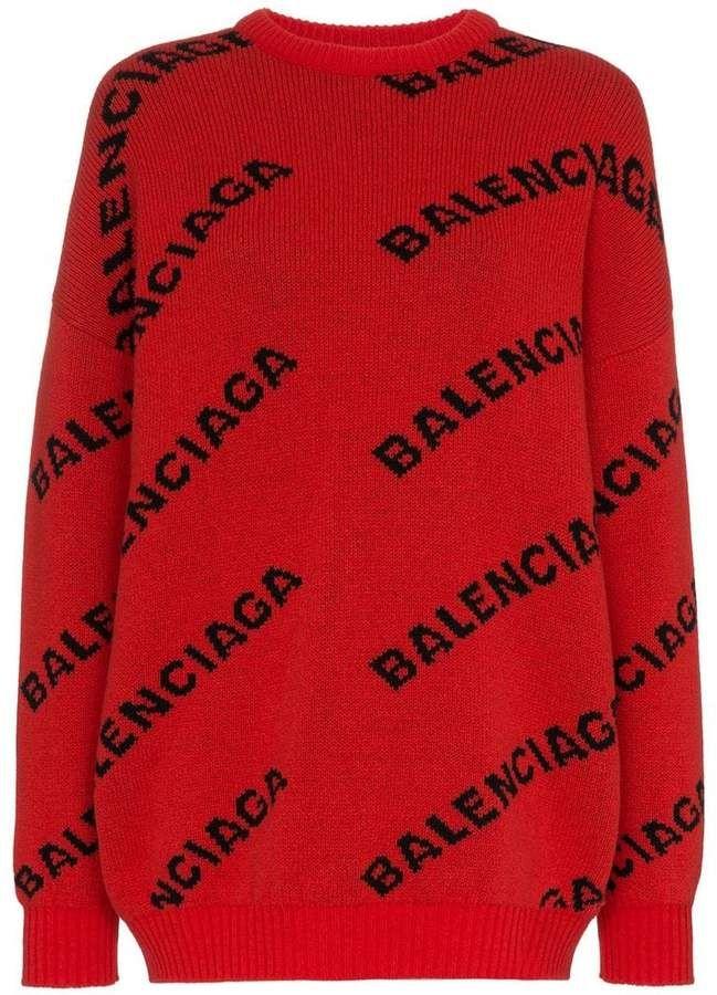 42166b3ec586 Balenciaga Logo Print Wool Jumper | Products | Sweaters, Wool ...