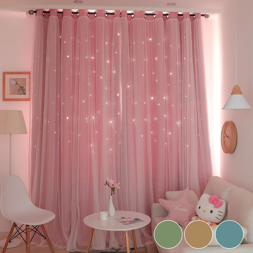 1 2pcs Full Blackout Curtain Double Decker Nordic Style Bedroom Living Room Curtain Hollow Star Net Princess Wind Curtain Walmart Com In 2020 Curtains Living Room Girls Room Curtains Insulated Blackout Curtains #pink #curtains #for #living #room