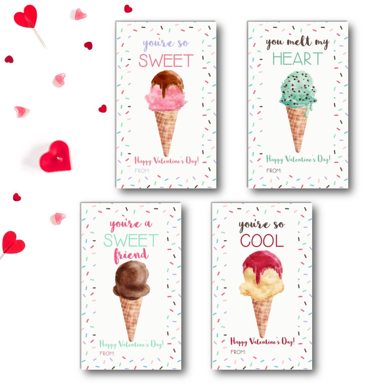 Ice Cream Valentine S Day Cards