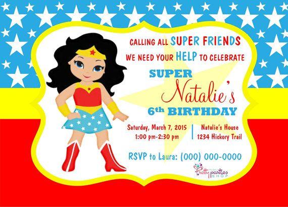 Mujer Maravilla Niña Animada: Wonder Woman Invitations