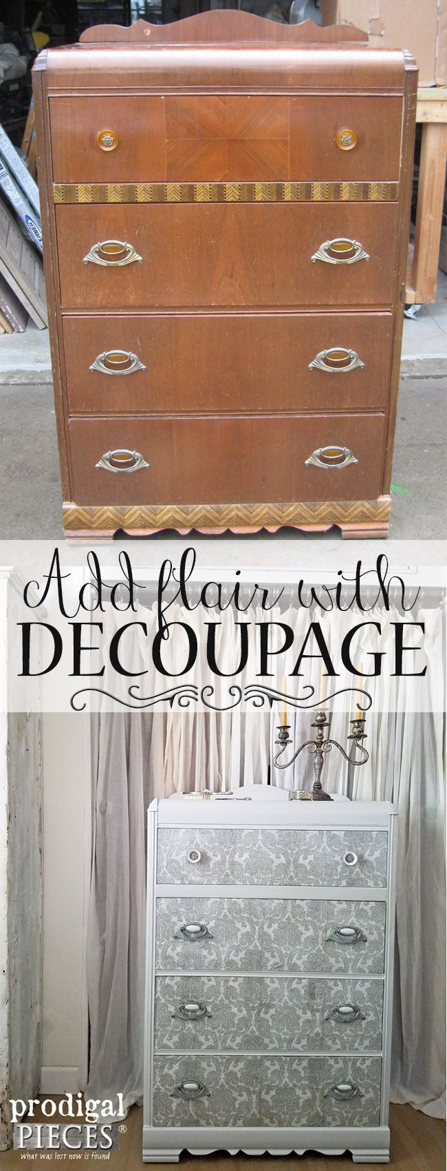 Add Flair to Your Furniture with Decoupage ~ DIY Tutorial by Prodigal Pieces   www.prodigalpieces.com