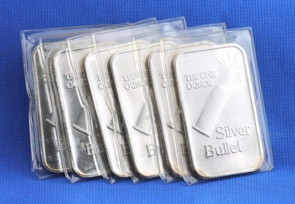 Lot Of 6 1 Oz 999 Fine Silver The One Ounce Silver Bullet Art Bar Invest Rare Silver Silver Bullet Fine Silver