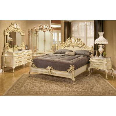 Polrey 321 K Set Clic Bedroom Includes King Size Bed Dresser With Marble Top G Mirror And 2 Nightstands Tops