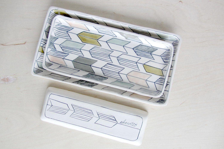 Medium Arrow Tail Nesting Tray in Soft Tones  Made to by ebenotti, $64.00
