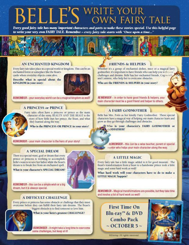 beauty and the beast create your own story printables for kids